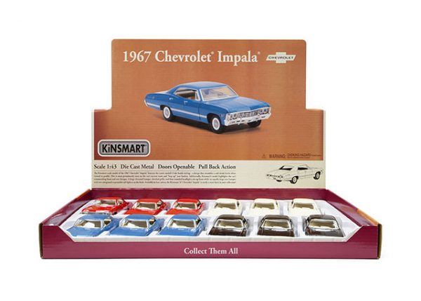 kt5418d1 - 1967 Chevrolet Impala pull back action die cast car - 1:43 scale (ONLY RED, WHITE OR BLACK LEFT