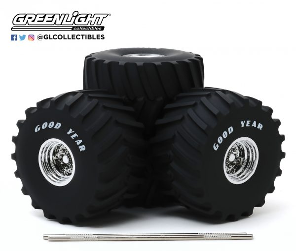 13547a - 1:18 SCALE KINGS OF CRUNCH 66-INCH MONSTER TRUCK GOODYEAR WHEEL and TIRE SET