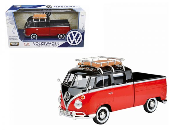 79552 - VOLKSWAGEN TYPE 2 (T1) PICKUP WITH ROOF RACK - RED AND BLACK