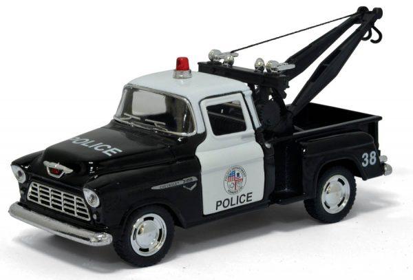kt5330dp - 1955 Chevy Srepside Pick-up (Police) - 5'' Die Cast Metal, Doors Openable, Pull Back Action