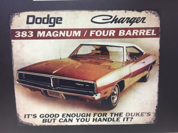tg810 - DODGE CHARGER - 383 Magnum /Four Barrell vintage metal sign replica