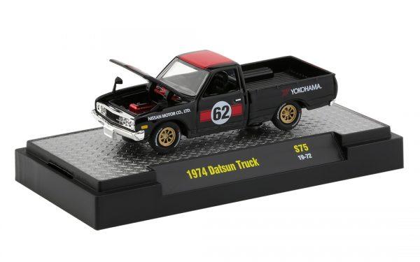 32500 s75b - 1974 Datsun Custom Pickup in Gloss Black and Red Stripes (Ll'l Hustler)