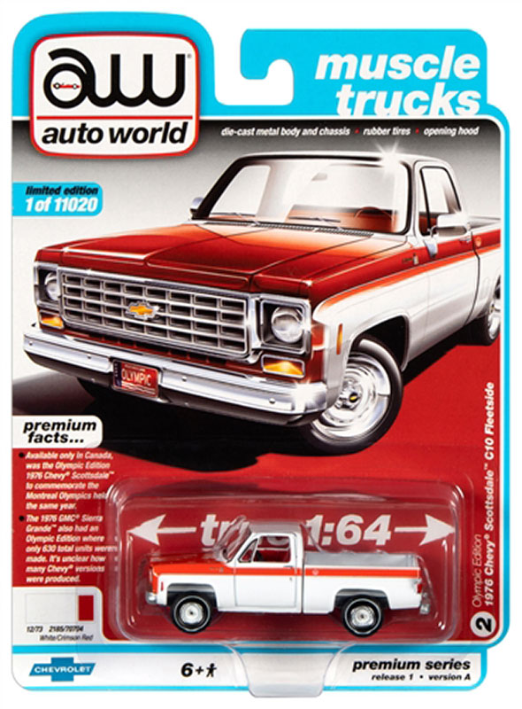 awsp034a1 - 1976 Chevrolet C10 Fleetside Scottsdale Truck in White and Red - Olympic Edition