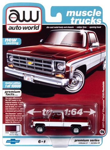 awsp038b 2 - 1977 Chevy Bonanza 10 Pick Up Truck (Dark Red Poly w/White)