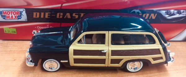 73260d 1 - 1949 FORD WOODY WAGON - DARK BLUE W/WOOD PANEL - NOT SOLD IN WINDOW BOX