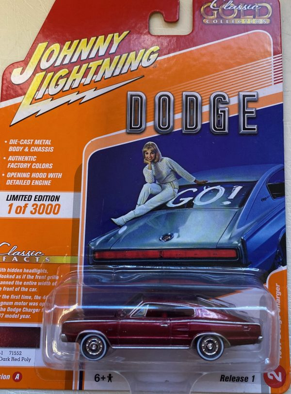 jlcg021a2 - 1967 DODGE CHARGER - DARK RED POLY - CLASSIC GOLD, JOHNNY LIGHTNING