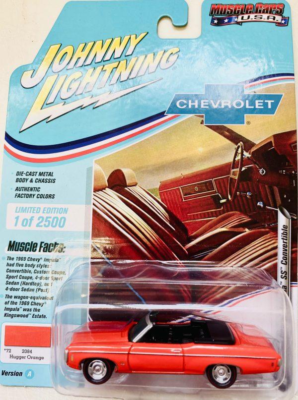 jlmc022a4 - 1969 CHEVY IMPALA CONVERTIBLE - HUGGER ORANGE -JOHNNY LIGHTNING MUSCLE CARS USA