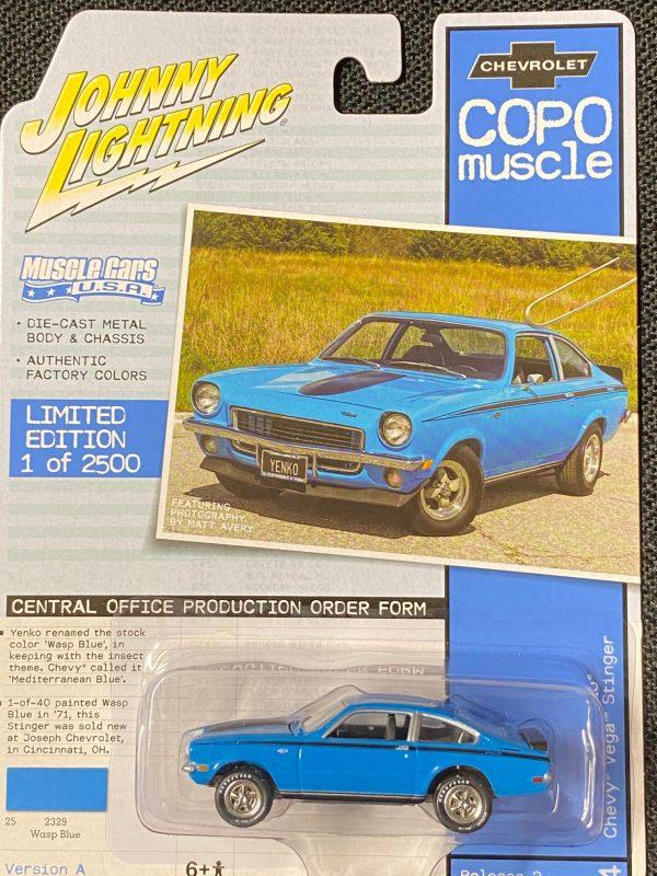 jlmc023a4 - 1972 COPO Yenko Chevrolet Vega Stinger in Wasp Blue with Black Stripes
