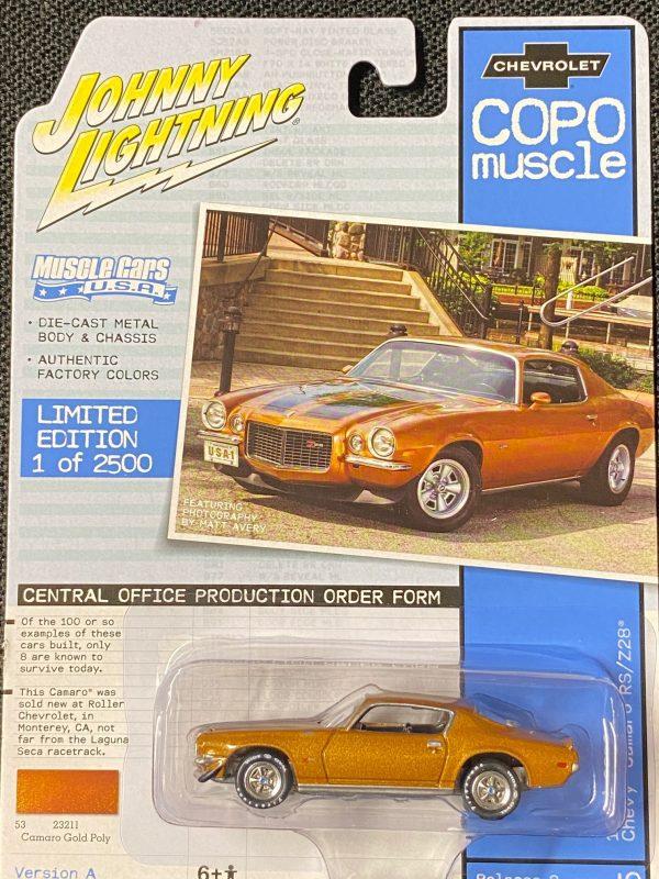 jlmc023a5 - 1970 1/2 COPO Chevrolet Camaro RS/Z28 in Camaro Gold Poly with Twin Black Stripes