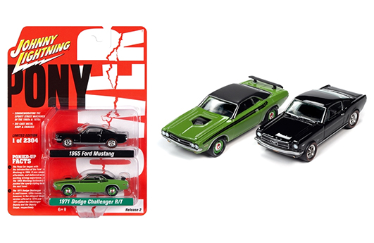 jlpk010pony - 1971 DODGE CHALLENGER AND 1965 FORD MUSTANG -Pony Power 2020 Release 2 (2-Pack) 1:64 Scale Diecast