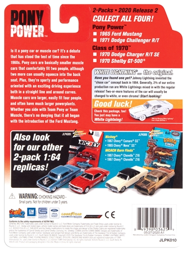jlpk010ponypower 6 - 1971 DODGE CHALLENGER AND 1965 FORD MUSTANG -Pony Power 2020 Release 2 (2-Pack) 1:64 Scale Diecast