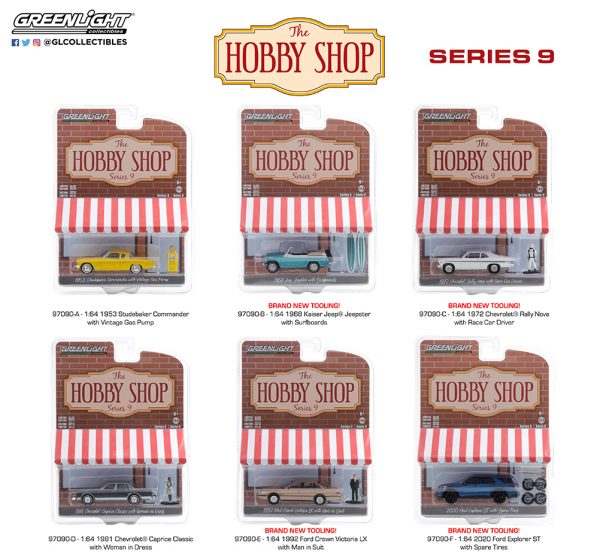 97090 1 64 the hobby shop 9 group pkg b2b - 1968 Kaiser Jeep Jeepster with Surfboards Solid Pack