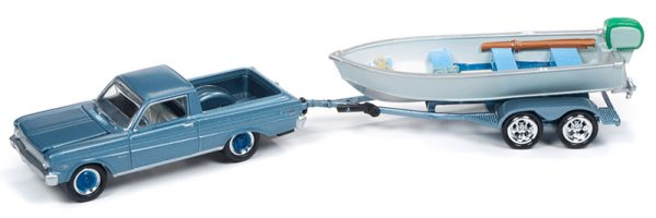 jlbt011a3 - 1965 FORD RANCHERO WITH VINTAGE FISHING BOAT 1:64