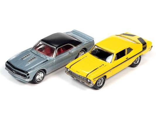jlpk012b - • 1967 Chevrolet Camaro YENKO Super Car in Nantucket Blue Metallic with Flat Black Vinyl Roof & Black Nose Stripes • 1970 Chevrolet YENKO Deuce Nova in Sunfire Yellow with Black Deuce Stripes