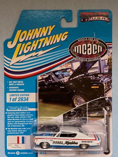jlmc024b5 - 1970 AMC REBEL MACHINE - FROST WHITE - JOHNNY LIGHTNING MCACN