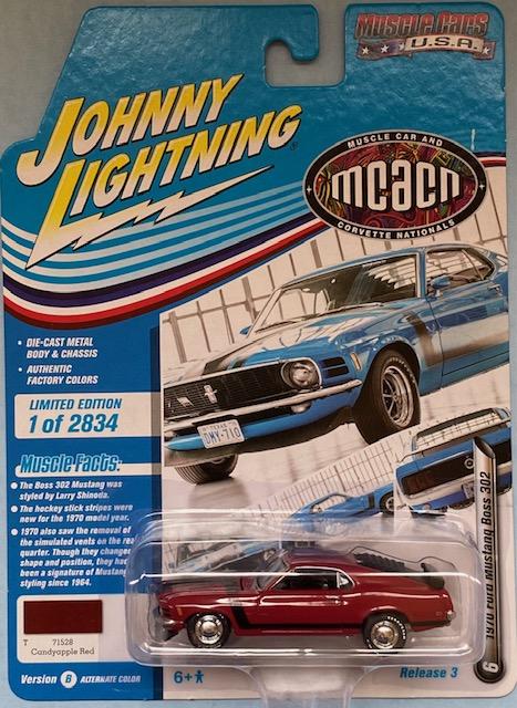 jlmc024b6 - 1970 FORD MUSTANG BOSS 302 - CANDYAPPLE RED - JOHNNY LIGHTNING MCACN