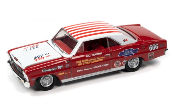 """rc012 4 - 1966 Chevy Nova SS in Red and White with Race Graphics-- Bill """"Grumpy"""" Jenkins"""