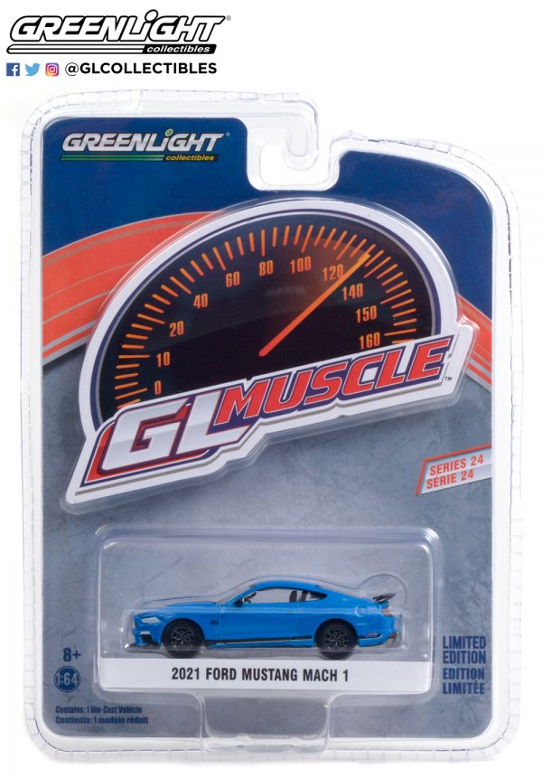 13290 f 2021 ford mustang mach 1 velocity blue with black stripe pkg b2b - 2021 Ford Mustang Mach 1 in Velocity Blue with Black Stripe Brand New Tooling!