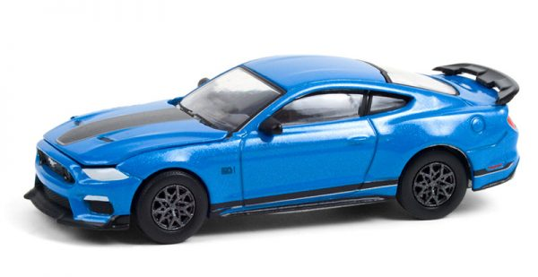 13290f - 2021 Ford Mustang Mach 1 in Velocity Blue with Black Stripe Brand New Tooling!