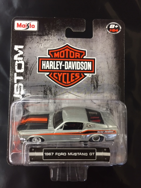 15380d - 1967 Ford Mustang GT - Harley Davidson graphics - silver/black/orange by Maisto