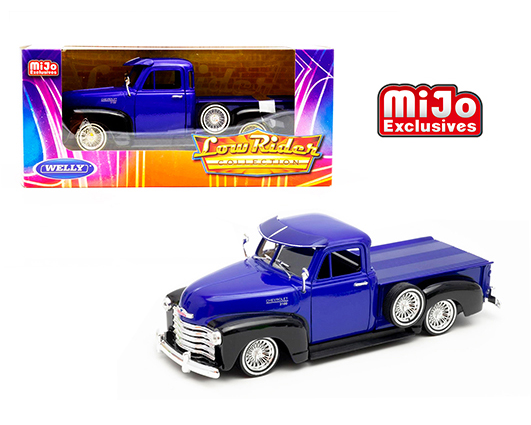 22087lrw bl - 1953 Chevy 3100 Pickup Truck -Low Rider Blue with Black 2 Tone Limited Edition (Mijo Exclusive)