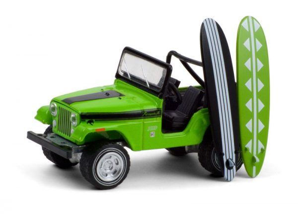 97100b - 1971 Jeep CJ-5 Renegade in Big Bad Green with Surfboards