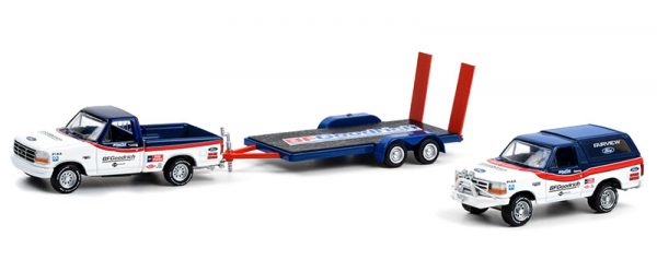 31110 a - 1992 Ford F-150 and 1992 Ford Bronco BF Goodrich Rough Riders on Flatbed Trailer