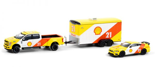 31110 b - 2019 Ford F-350 Lariat and 2021 Ford Mustang Mach 1 Shell Oil #21 with Enclosed Shell Oil Car Hauler