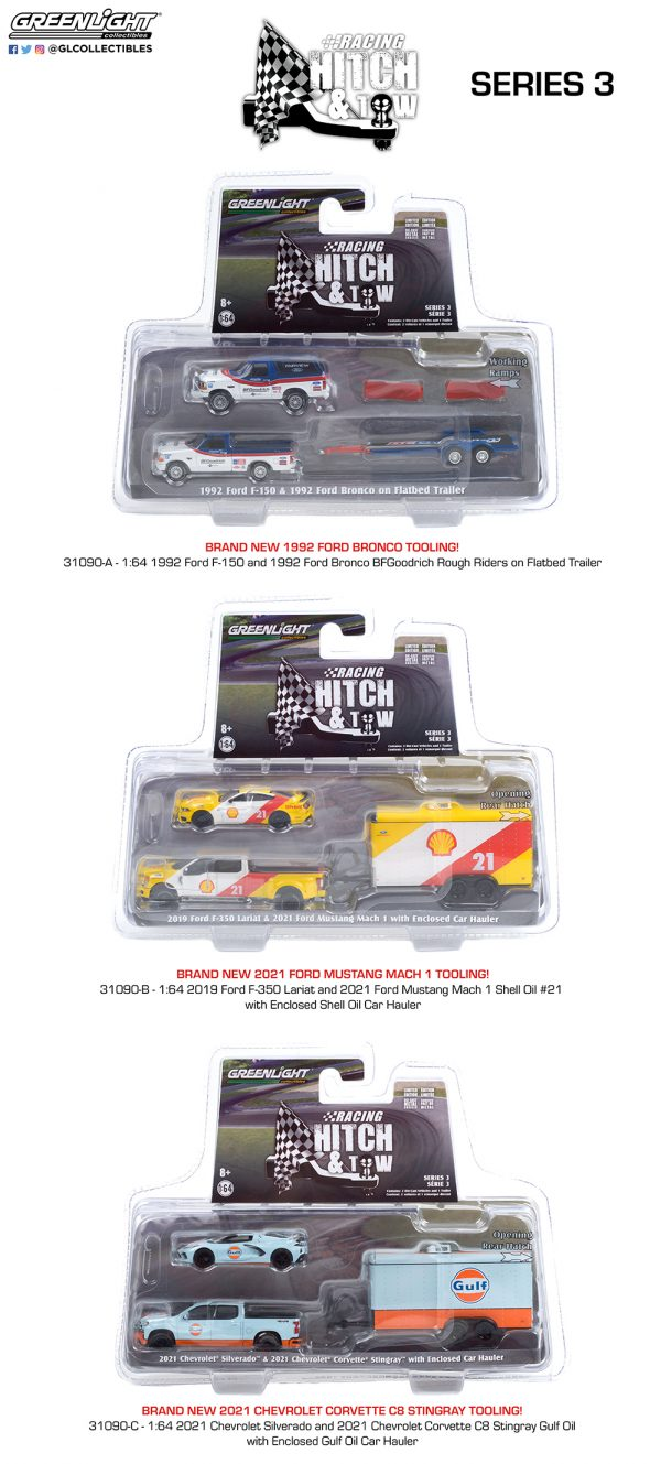 31110 racing hitch and tow series 3 group pkg b2b 1 - 1992 Ford F-150 and 1992 Ford Bronco BF Goodrich Rough Riders on Flatbed Trailer