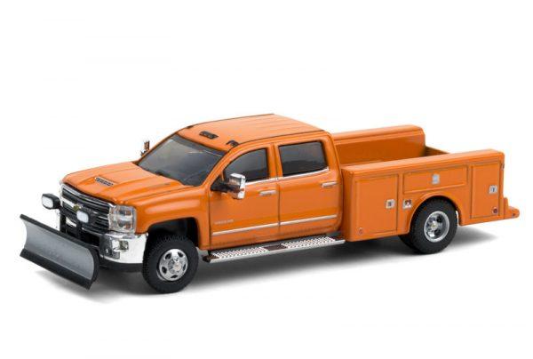 46060b - 2018 Chevrolet Silverado 3500 Dually Service Bed - Tangier Orange with Snow Plow