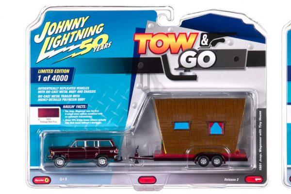 jltg002b1 - 1981 Jeep Wagoneer w/Tiny House – Truck: Vintage Red & Tiny House: Tan Shake & Brown