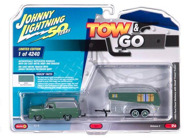 jltg002b2 - 1955 Ford Panel w/Small Travel Trailer – Truck: Sea Haze Green w/Metallic Dovetone Gray & Trailer: White & Green