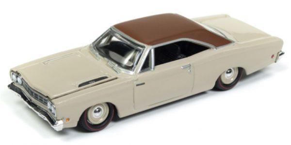 rc008b5 - 1968 Plymouth Road Runner in Satin Beige w/ White Vinyl Roof