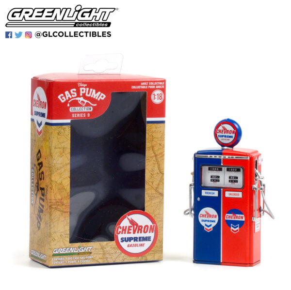 14090 c 1954 tokheim 350 twin gas pump chevron supreme pkg open b2b - 1954 Tokheim 350 Twin Gas Pump Chevron Supreme