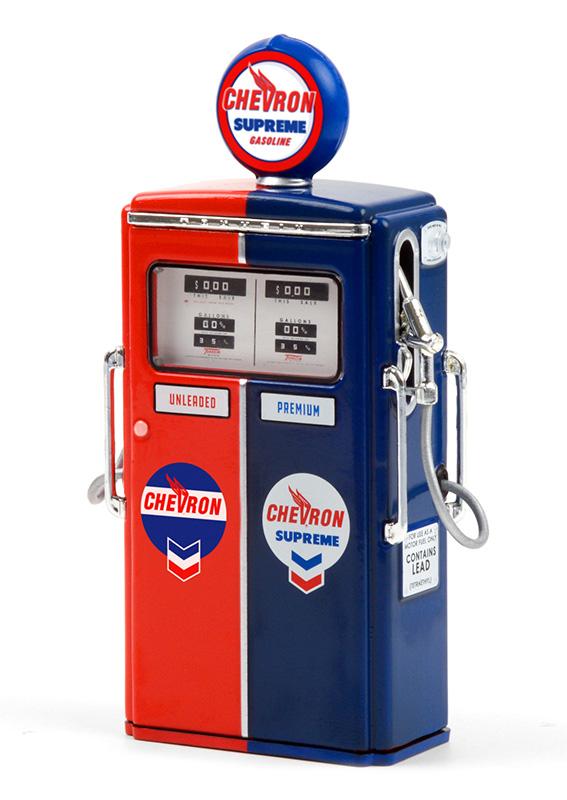 14090 c - 1954 Tokheim 350 Twin Gas Pump Chevron Supreme