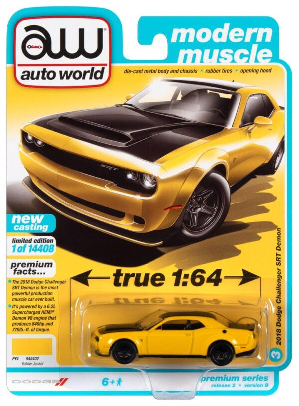 awsp068b 1 - 2018 Dodge Challenger Demon in Yellow Jacket with Flat Black Hood, Roof & Trunk Lid