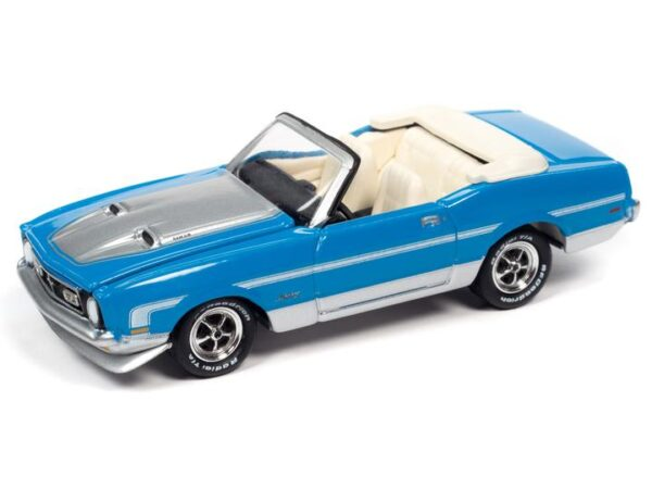 - 1972 Ford Mustang Convertible (Grabber Blue, Silver Stripes)