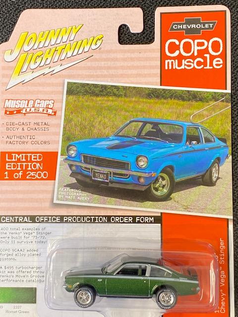 jlmc023b4 2 - 1972 COPO Yenko Chevrolet Vega Stinger in Hornet Green with White Stripes