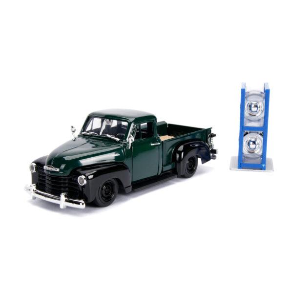 30521 - 1953 Chevy Pick Up Truck, dark green/black w/extra wheels - Just Trucks