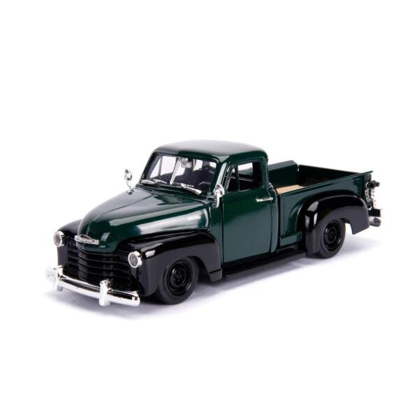 30521b - 1953 Chevy Pick Up Truck, dark green/black w/extra wheels - Just Trucks