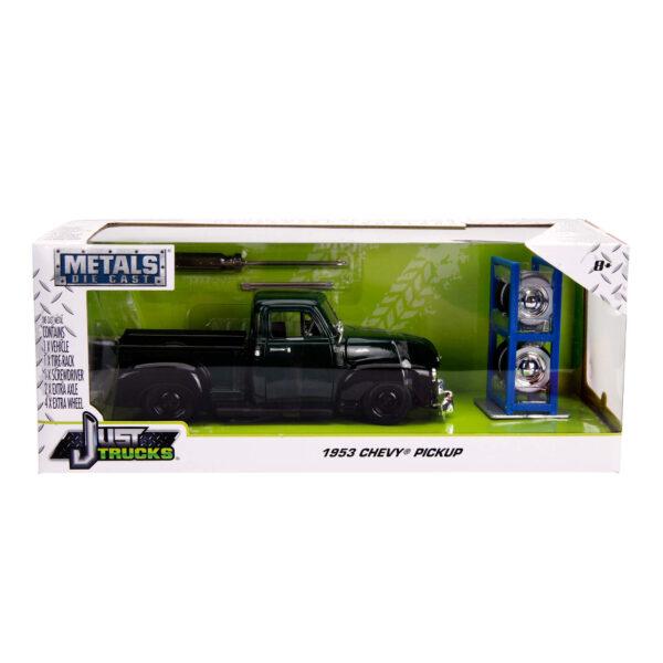 30521d - 1953 Chevy Pick Up Truck, dark green/black w/extra wheels - Just Trucks