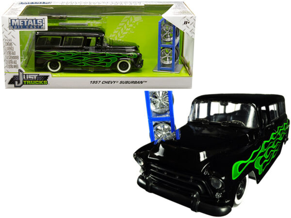 """97821 - 1957 Chevrolet Suburban Black with Green Flames and Extra Wheels """"Just Trucks"""" Series"""