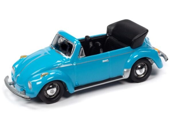 - 1975 VOLKSWAGEN SUPER BEETLE CONVERTIBLE (TOP DOWN) (MIAMI BLUE) WITH COLLECTOR TIN