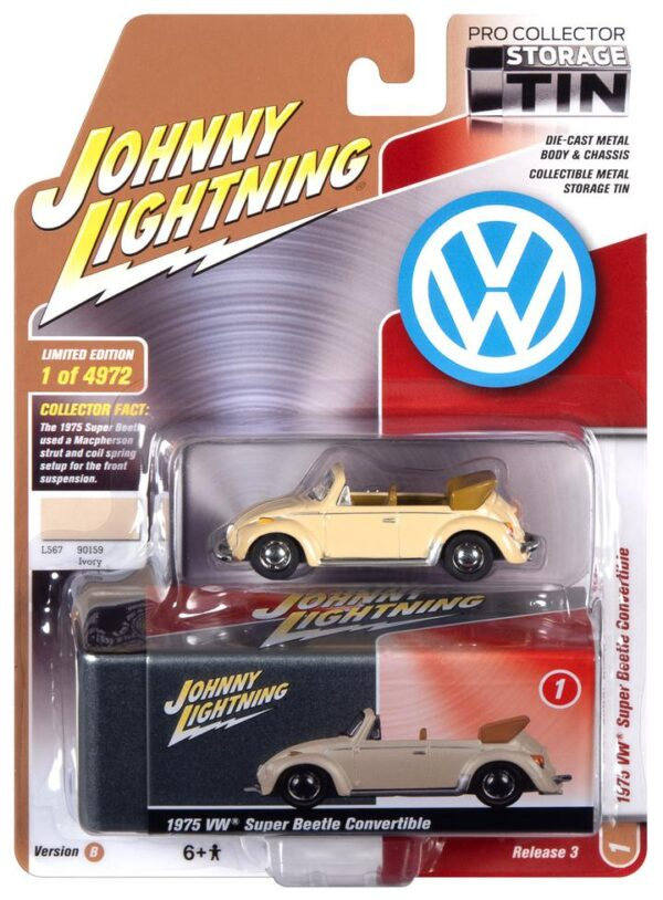 - 1975 VOLKSWAGEN SUPER BEETLE CONVERTIBLE (TOP DOWN) (IVORY) WITH COLLECTOR TIN