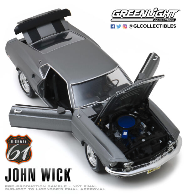18016e - 1969 Ford Mustang Boss 429 - John Wick (2014) by Greenlight/Highway 61 -ARRIVING SEP 10