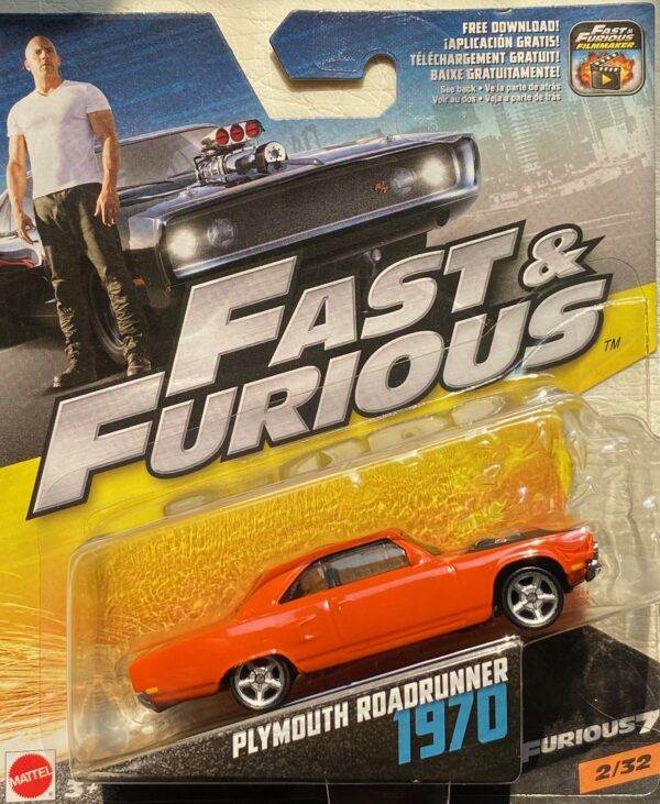 fcf37 - 1970 PLYMOUTH ROAD RUNNER (FAST & FURIOUS) FURIOUS 7 IN 1:55 SCALE #2/32