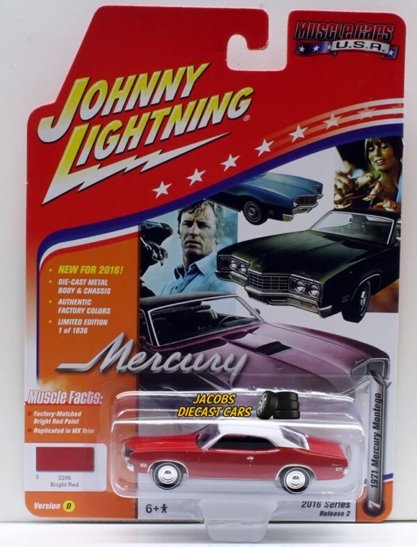 jlmc002d1 - 1971 MERCURY MONTEGO - BRIGHT RED BY JOHNNY LIGHTNING